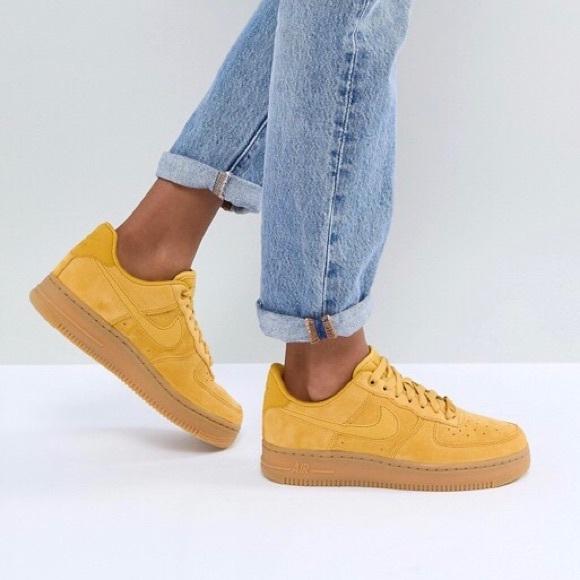 new styles 903ac 5c5af Nike Mustard Suede Air Force 1 Sneakers
